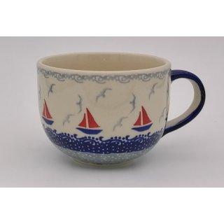 Bunzlauer Keramik Tasse Cappuccino, Milchcafe - Segelboote - 0,45 Liter, (F044-DPML)