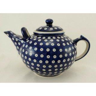 B-Ware Bunzlauer Keramik Teekanne , blau/weiß für 2,9Liter Tee, Pünktchen (C001-70A)