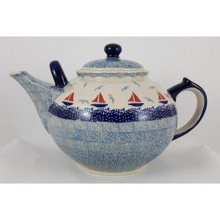B-Ware Bunzlauer Keramik Teekanne , blau/weiß für 2,9Liter Tee, Segelboote (C001-DPML)
