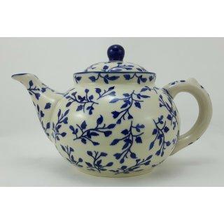 B-Ware Bunzlauer Keramik Teekanne, Kanne für 1,3Ltr. Tee, blau/weiß (C017-LISK)