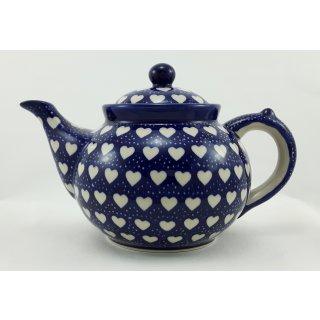 B-Ware Bunzlauer Keramik Teekanne,  Kanne für 1,3Ltr. Tee, Herzen (C017-SEM)