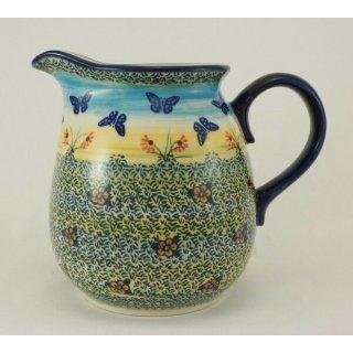 B-Ware Bunzlauer Keramik Krug; Blumenvase; Milchkrug; 1,4Liter, SIGNIERT(D040-WKM)