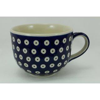 B-Ware Bunzlauer Keramik Tasse Cappuccino, Milchcafe - Punkte - 0,45 Liter, (F044-70A)