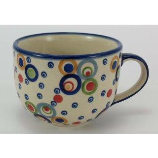 B-Ware Bunzlauer Keramik Tasse, Cappuccino, Milchcafe, UNIKAT modern, (F044-AS38)