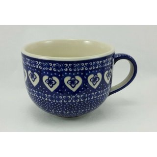 B-Ware Bunzlauer Keramik Tasse Cappuccino, Milchcafe - Herzen - 0,45 Liter, (F044-DSS)