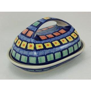 B-Ware Bunzlauer Keramik Butterdose  für 250g Butter, blau/weiß/grün/rot (M077-10)