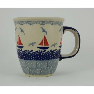 B-Ware Bunzlauer Keramik Tasse MARS - blau/weiß - 0,3 Liter, Segelboote (K081-DPML)
