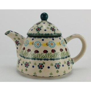 B-Ware Bunzlauer Keramik Teekanne spitz, Kanne für 0,9Ltr. Tee Marienkäfer (C005-IF45)