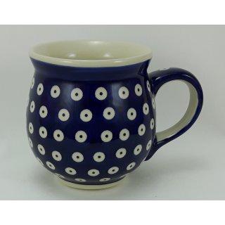 B-Ware Bunzlauer Keramik Tasse BÖHMISCH  - Punkte - blau/weiß - 0,45 Liter, (K068-70A)