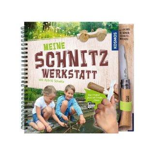KOSMOS Buch Meine Schnitzwerkstatt & Opinel Kindermesser No 07, Buche, natur, rostfrei