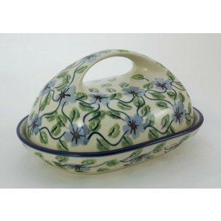 Bunzlauer Keramik Butterdose Blumen, für 250g Butter, U N I K A T, (M077-TAB1)