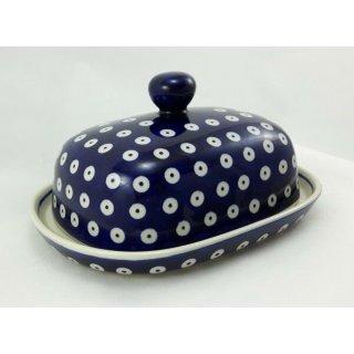 Bunzlauer Keramik Butterdose groß, für 250g Butter, Punkte, blau/weiß (M137-70A)