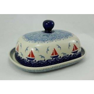 Bunzlauer Keramik Butterdose groß, für 250g Butter, Segelboote (M137-DPML)