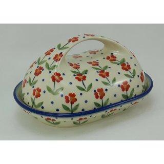 Bunzlauer Keramik Butterdose mit Griff, für 250g Butter, Blümchen, (M077-AC61)
