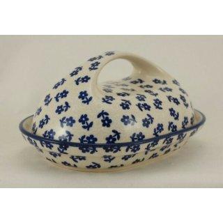 Bunzlauer Keramik Butterdose, für 250g Butter, Blumen, U N I K A T, (M077-ASBS)
