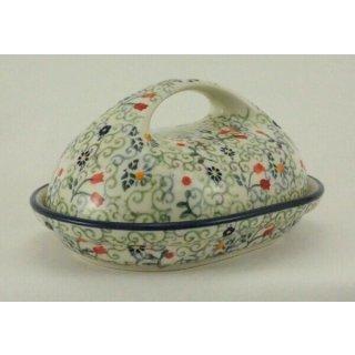 Bunzlauer Keramik Butterdose, für 250g Butter, Blumen, U N I K A T, (M077-EO36)