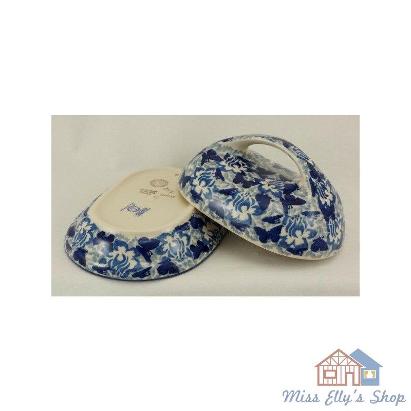 Bunzlauer Keramik Butterdose M077-AS56 U N I K A T, Blumen für 250g Butter