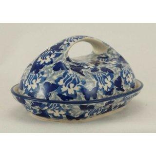 Bunzlauer Keramik Butterdose, für 250g Butter, Schmetterling, UNIKAT (M077-AS56)