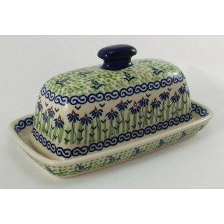 Bunzlauer Keramik Dose, für Ziegenkäserolle, Harzer, Kräuterbutter (M074-MC15)