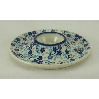 Bunzlauer Keramik Eierbecher mit Teller 2er Set, Signiert (J051-AS45) blau/weiß
