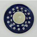Bunzlauer Keramik Eierbecher mit Teller 3er Set, (J051-70A) blau/weiß, Pünktchen