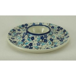 Bunzlauer Keramik Eierbecher mit Teller 3er Set, (J051-AS45) blau/weiß, SIGNIERT