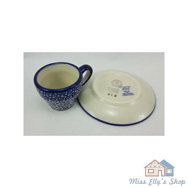 blau//weiß Bunzlauer Keramik Espressotasse mit Untertasse F037-MAGM Pünktchen