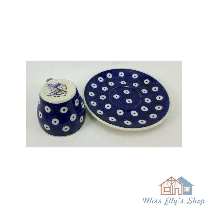 blau//weiß Bunzlauer Keramik Espressotasse mit Untertasse Pünktchen F037-MAGM