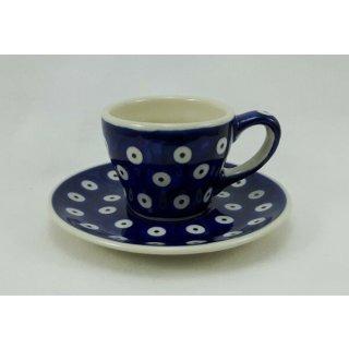 Bunzlauer Keramik Espressotasse mit Untertasse, blau/weiß, Punkte (F037-70A)