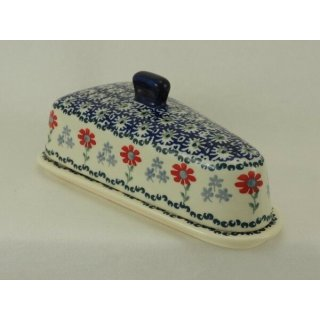 Bunzlauer Keramik Käseglocke, Briekäse-Glocke, Blumenmuster (P207-P232)