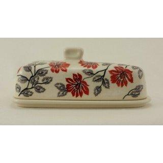 Bunzlauer Keramik Käseglocke, Briekäse-Glocke, SIGNIERT, Blumen (P207-KS01)