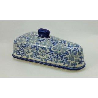 Bunzlauer Keramik Käseglocke, Briekäse-Glocke, UNIKAT, Blumen (P207-AS53)
