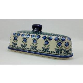 Bunzlauer Keramik Käseglocke, Briekäse-Glocke, UNIKAT, Blumen (P207-J126)