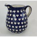Bunzlauer Keramik Krug; Blumenvase; Milchkrug; 0,9Liter, Herzen, (D041-SEM)