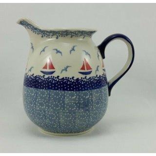 Bunzlauer Keramik Krug; Blumenvase; Milchkrug; 0,9Liter, Segelboote, (D041-DPML)