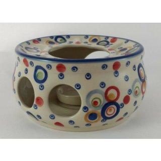 Bunzlauer Keramik Stövchen für Teekanne, Dekor AS38, U N I K A T, ø16cm, P089