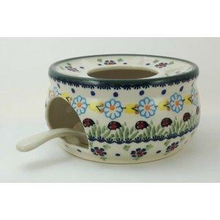 Bunzlauer Keramik Stövchen für Teekanne, Teelicht, Marienkäfer, ø16cm(P089-IF45)