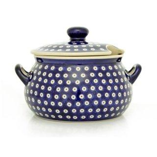 Bunzlauer Keramik Suppenterrine mit Deckel, 3,5Ltr, Punkte, blau/weiß (W004-70A)