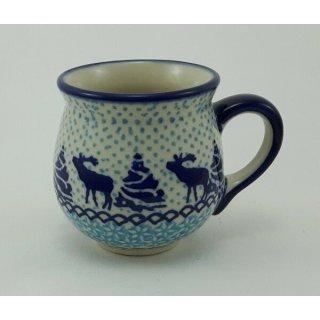 Bunzlauer Keramik Tasse BÖHMISCH MINI - Elche - Wald - 0,18 Liter, (K067-JG24)