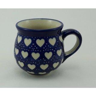 Bunzlauer Keramik Tasse BÖHMISCH MINI, blau/weiß Herzen - 0,18 Liter, (K067-SEM)