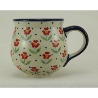 Bunzlauer Keramik Tasse BÖHMISCH, blau/weiß/rot, Blumen - 0,25 Liter, (K090-AC61)