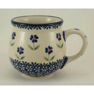 Bunzlauer Keramik Tasse BÖHMISCH, blau/weiß, Blumen - 0,25 Liter, (K090-ASS)