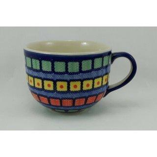 Bunzlauer Keramik Tasse Cappuccino, Milchcafe, Jumbo, 0,45 Ltr., (F044-10), bunt