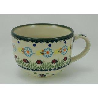 Bunzlauer Keramik Tasse Cappuccino, Milchcafe, Marienkäfer, 0,45Liter, F044-IF45