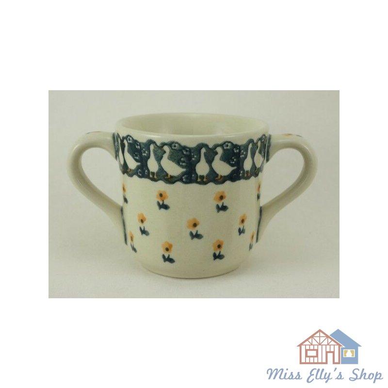 2Henkel Becher 0,2 Liter Bunzlauer Keramik Tasse Kinder K094-GILE