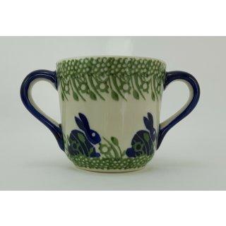 Bunzlauer Keramik Tasse Kinder - Becher - 2Henkel - 0,2 Liter (K094-P324), Hase