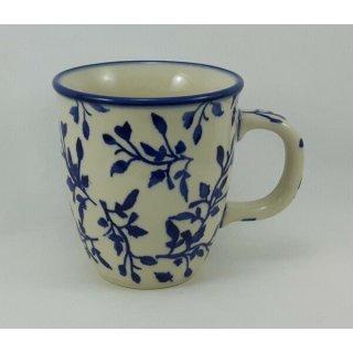 Bunzlauer Keramik Tasse MARS - Becher, blau/weiß - 0,3 Liter, Blumen (K081-LISK)