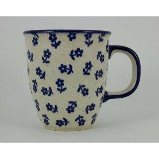 Bunzlauer Keramik Tasse MARS - blau/weiß - 0,3 Liter, Blumen, UNIKAT (K081-ASBS)