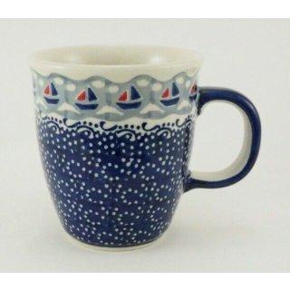 Bunzlauer Keramik Tasse MARS - blau/weiß - 0,3 Liter, Segelboote (K081-DPMA)